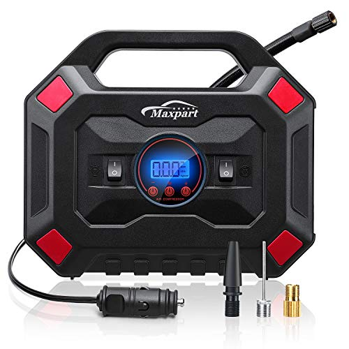 TWING Tire Inflator 12V 150PSI Digital Air Compressor Pump  Auto Car Tire Pump with Pressure Gauge LED Light, Long Cable and Auto Shut Off Compatible with Car,Bicycle and Other Inflatables (Red)