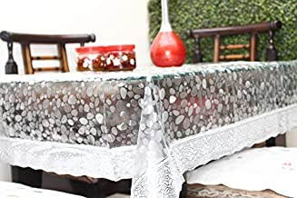 Live Factory 3D PVC Dinning Table Cover with Silver Lace - 6 Seater, Transparent (Silver, 60 x 90)