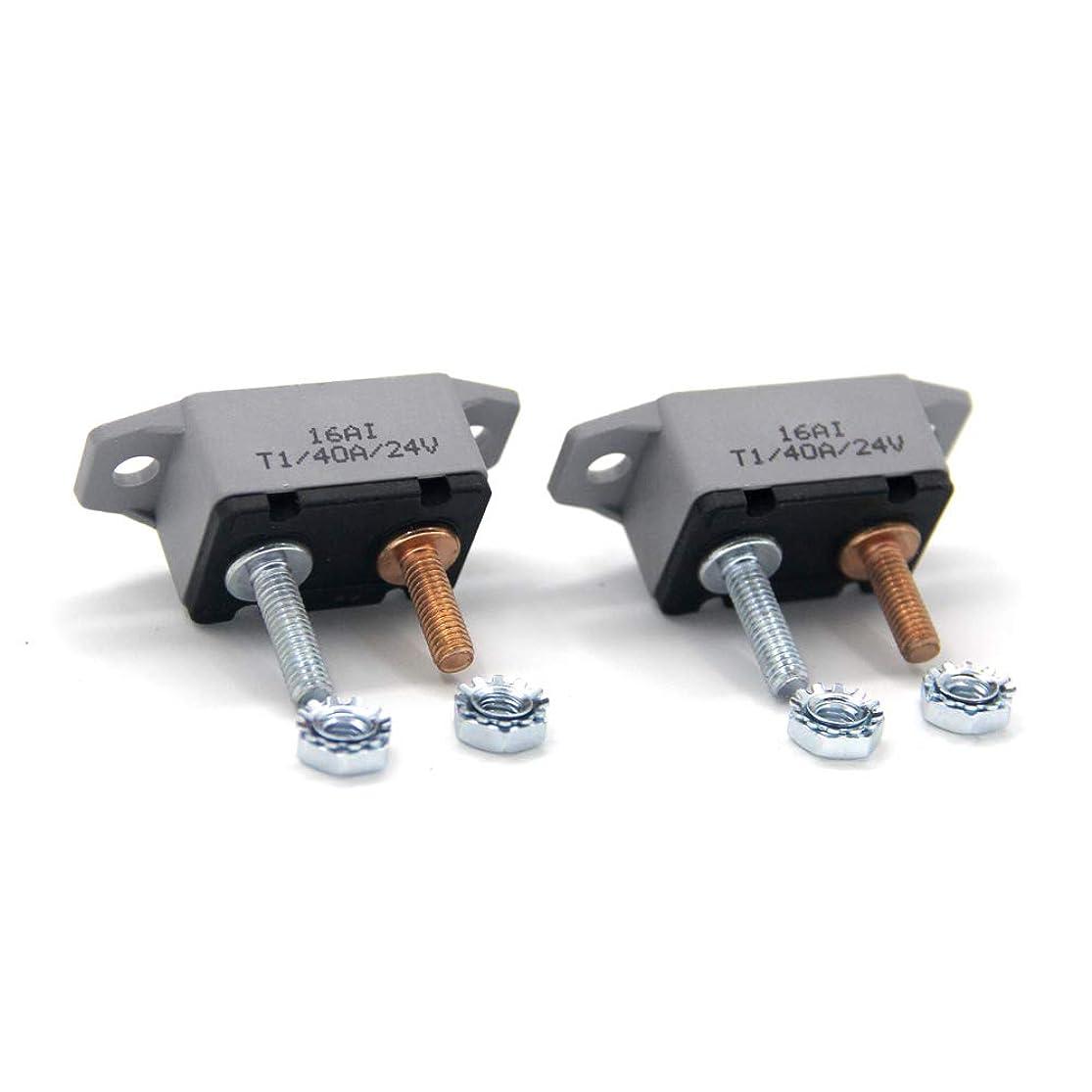 ZOOKOTO 2pcs 12-24V 40 Amp ATV AUTO Resettable Circuit Breaker Fuse holder 40A liibtstl2