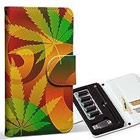 スマコレ ploom TECH プルームテック 専用 レザーケース 手帳型 タバコ ケース カバー 合皮 ケース カバー 収納 プルームケース デザイン 革 レゲエ 植物 カラフル 011734