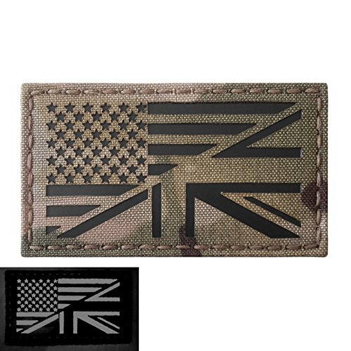 Multicam Infrared IR USA UK Union Jack Friendship Flag 3.5x2 IFF Tactical Morale Fastener Patch