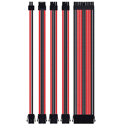 Ywengouy 18AWG at X Kit de cable de extensión ATX24Pin/EPS 4+4Pin/PCI-E 8Pin/PCI-E 6Pin A/V TV Videojuego Cable