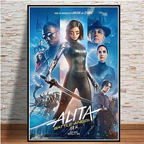 Weijiajia Alita Battle Angel Movie Game Affiches Et Impressions sur Toile Peinture Mur Photos pour Salon Décor Maison Art Décoratif 50x70cm (19.68x27.55 in) F-1138