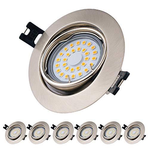 EACLL Foco Empotrable LED GU10 Blanco Cálido 2700K 5W Ultrafino Innovador Focos de Techo, IP44 Puede Utilizar en Baño Níquel Mate Downlight 120 °, Incluye Bombillas y Portalámparas. Pack de 6 sets