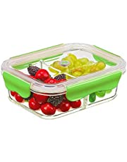 PREMIUM QUALITY 640 ML 2 Compartment Glass Lunch box/Food Storage Containers - Meal Prep BPA Free Lunch Containers with Smart For Snap Locking Tritan Lid Guarantee 100% Airtight Leakproof …