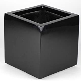 Shiny Black Planter Cube Shaped Flower Pot - Indoor Outdoor Square - 8x8x8 Inches