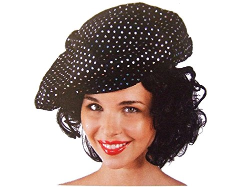 Casquette disco noir à paillettes petite tour de tête Chapeaux de deguisement