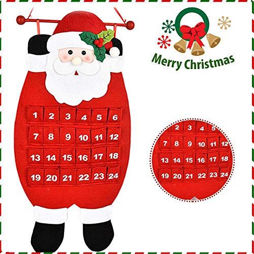 Sunshine smile Arbol de Navidad de Fieltro,Arbol de Navidad Calendario de adviento,arbol de Navidad de Fieltro DIY,Felt Christmas Tree,arbol de Fieltro Navidad Regalo para Niños(E)
