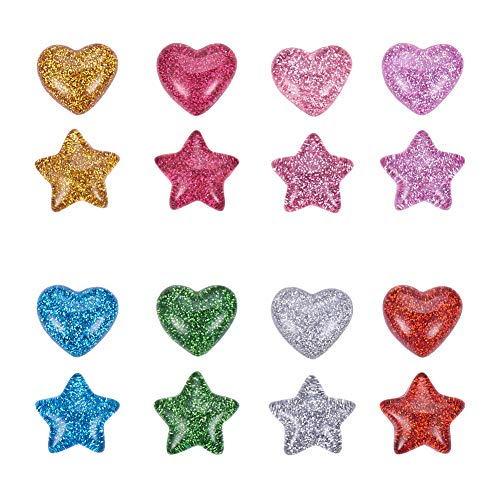 PandaHall 160 cabujones de resina de plástico de 16 mm con parte trasera plana con purpurina, diseño de estrella y corazón