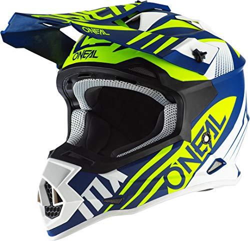 O'NEAL | Motocross-Helm | MX Enduro Motorrad | ABS-Schale, Sicherheitsnorm ECE 22.05, Lüftungsöffnungen für optimale Belüftung | 2SRS Helmet Spyde 2.0 | Erwachsene | Blau Weiß Gelb | Größe XS
