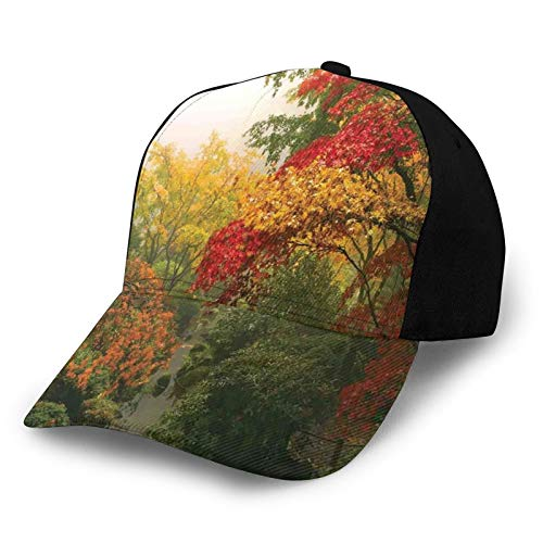 Printed Baseball Cap,Maple Trees In The Fall At Portland Japanese Garden One Foggy Morning Scenery,Hat for Men Women Teens