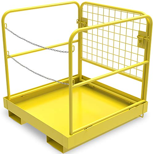 YINTATECH Forklift Cage Work Platform Safety Cage Collapsible Heavy Duty Steel Construction Lift Basket Aerial Rails 36x36 inches 1105lbs Capacity