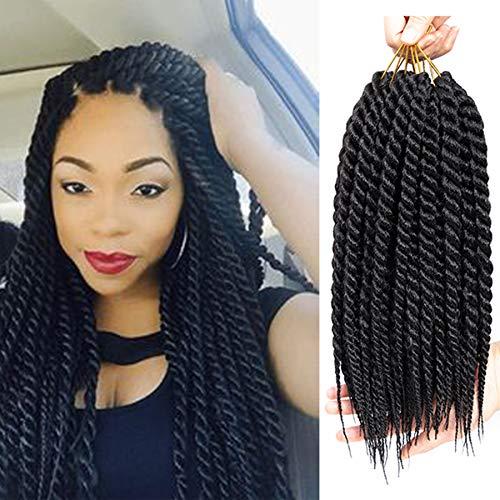 Ago 6Packs 12inch Havana Twist Crochet Hair Mambo Twist Braids Hair Senegalese Twists Hair Low Temperature Braiding Hair 12Strands/Pack(12inch/6packs, 1B#)
