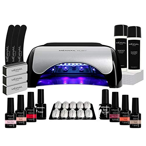 Kit Semipermanente Unghie Professionale • Set Manicure Completo 6 Smalti Primer Base Top Coat Lampada UV Led 48W Lime Remover • Colori Semi Permanenti Gel Polish Nail Art • KIT RUBY
