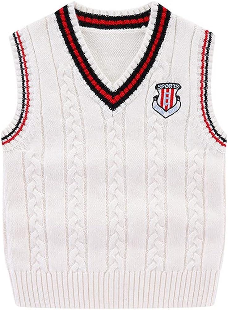 LittleSpring Little Boys Knit Sweater Vest Sleeveless V-Neck Soft