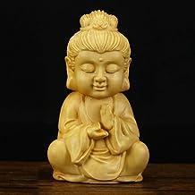 Statue Small Statue Boxwood Sakyamuni Statue Buddha Statue Guanyin Dizang Bodhisattva Figurines Mahogany Buddha Semi-Handc...