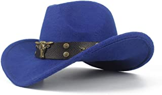 SXQ Men's Women's Wool Western Cowboy Hat with Cow Head Leather Band Sombrero Hat Winter Outdoor Fascinator Hat Size 56-58CM (Color : Blue, Size : 56-58)