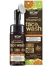 WOW Skin Science Brightening Vitamin C Foaming Face Wash met ingebouwde gezichtsborstel voor diepe reiniging - Geen parabenen, sulfaat, siliconen en kleur - 100 ml