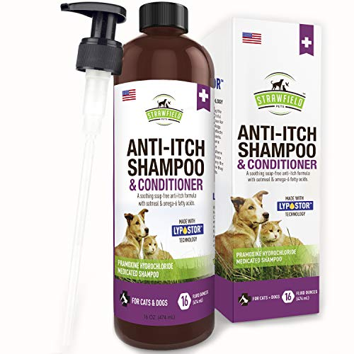Anti Itch Dog Shampoo for Dry Itchy Skin - 16 oz - Medicated, Hypoallergenic Colloidal Oatmeal Dog Shampoo and Conditioner for Allergies and Itching, Sensitive Skin Allergy Relief Treatment, USA