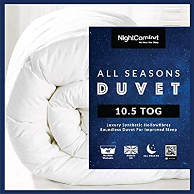 Night Comfort ® All Seasons Deluxe 10.5 Tog Duvet - Anti Allergy Hollowfibre All Year Round Use Duvet