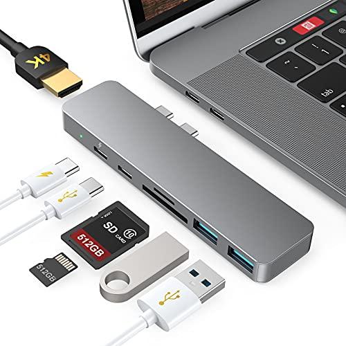 Hub USB C per MacBook Pro Air M1 2020 2019 2018, 7 in 2 Adattatore USB-C con 4K HDMI, Thunderbolt 3 (100W PD), USB-C&2 USB 3.0, Lettore di Schede SD TF, Compatibile con MacBook Pro Air 13 15 16