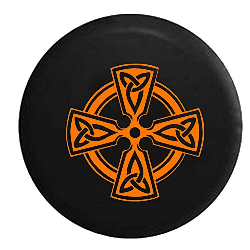 Orange - Celtic Cross Knot Irish Shield Warrior Spare Tire Cover Fits: SUVs RV and Camper Spare Tire Covers Black 33 in