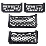 kekafu 4 Pack Car Net Pockets Storage Bag Self-Adhesive Pocket Nets Black Elastic Nylon Car Pocket Organizer