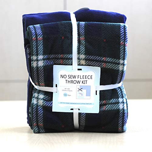London Plaid Anti-Pill No-Sew Throw Fleece Fabric Kit (50x60)
