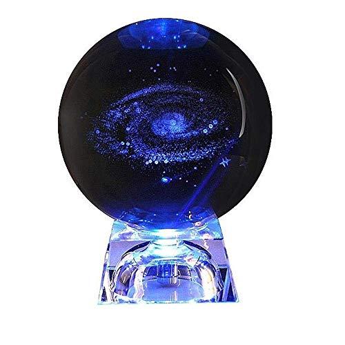 Dahuy 3D Galaxy Kristallkugel, klare Kristallkugel Galaxy Glaskugel Kugel mit Basis Bestes Geburtstagsgeschenk für Kinder