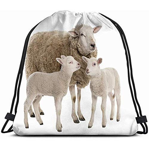 Bolso De Viaje,Oveja Sus Dos Corderos Frente Animales Blancos Fauna Salvaje Ovejas Transporte Mochila Con Cordón Bolsa Para Niños Niños Niñas Adolescentes Cumpleaños, Bolsa De Regalo Bolsa Gimnas