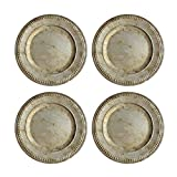 Charge it by Jay Randall Set of 4 Charger Large Decorative Melamine Service Plate for Home & Professional Fine Dining-for Upscale Catering Events, Dinner Parties, 14', Rustic Silver