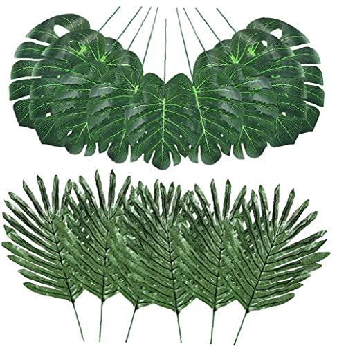 Yililay Selva Hojas de simulación Artificiales Hojas de Palma Falso Tropical Plant Stems de Hawai Hojas Verdes 48PCS
