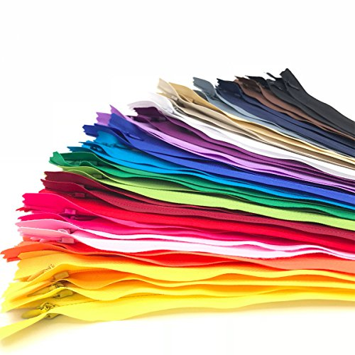 40PCS Nylon Invisible Zipper,Sewing for Handmade Garment/Bags/Home Textile,Tailor Sewer Crafter's Special(22 inch,Mix Color)