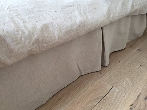 Tailored Linen Bed Skirt - Box Pleated - inNatural, White or Grey Colors - Various Mattress Sizes and High Drops