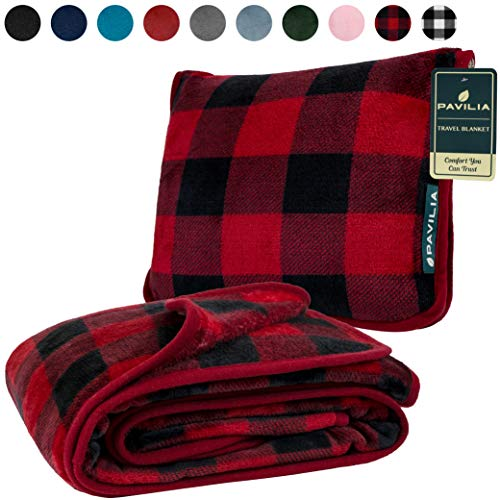 PAVILIA Fleece Travel Blanket Pillow | Large Portable Airplane Blanket with Luggage Strap | 2-in-1 Foldable Blanket for Travel, Use as Blanket for Car, Flight, Work, Camping (Checker Red)