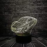 Carrito deportivo GTR modelo de coche con cambio de color luz nocturna cool boy coche dormitorio decoración regalo de cumpleaños illusion 16 colores luz nocturna 3