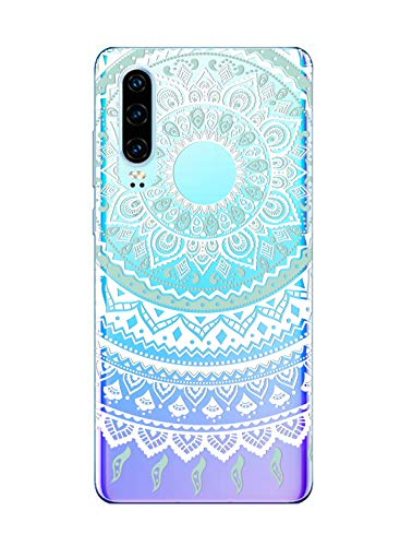 Oihxse Silicona Funda pour Huawei P8 Lite 2017 - Transparente TPU Ultra Fine Protector Carcasa Circulo Puntilla Flor Diseño Anti Choc Antigolpes Bumper Case Cover(Flower A2)