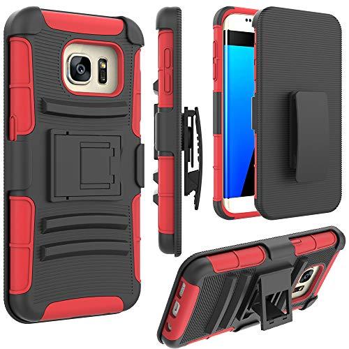 Jeylly Schutzhülle für Samsung Galaxy S7 Edge, mit Gürtelclip, integrierter Ständer, robust, stoßdämpfend, für Samsung Galaxy S7 Edge G935 (Rot & Schwarz)