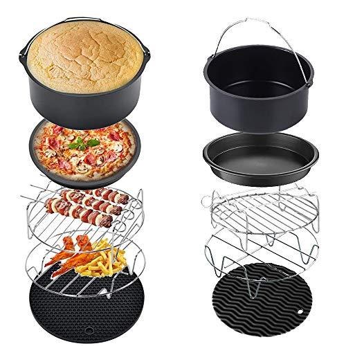 PopHMN Accesorios para freidoras de Aire, 5PCS 18CM Pizza Dish Cake Barrel Air Fryer Rack con Almohadilla Aislante Adecuado para Air Fryer Accesorios