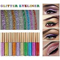 Ownest 10 Colors Liquid Glitter Eyeliner, Sombra de ojos con brillo metálico Shimmer, Sombra de ojos Shimmer Sparkling Eyeliner de larga duración a prueba de agua