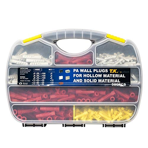 T.K. Excellent PA Wall Plugs Kit for Hollow Material and Anchors Solid Materials 500Pcs