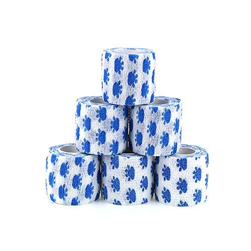 MUEUSS Vendaje autoadhesivo Vet Wrap Vendajes cohesivos auto adherentes Vendaje elástico no tejido impermeable para animales Deportes para mascotas FDA (Garra blanca, 6 rollos, 2 '' x 5YDS)