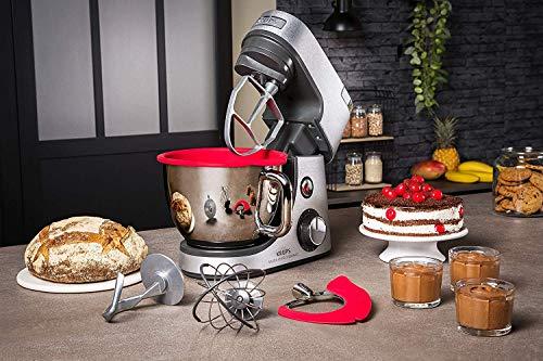 Krups Premium Küchenmaschine 17 teilig, 4,6L Edelstahlschüssel, Silikonschüssel, 4 Rührwerkzeuge Edelstahl, spülmaschinenfest, 1100W, Schnitzelwerk, Fleischwolf, Gratis Rezepte und 12er Cupcake Form - 4