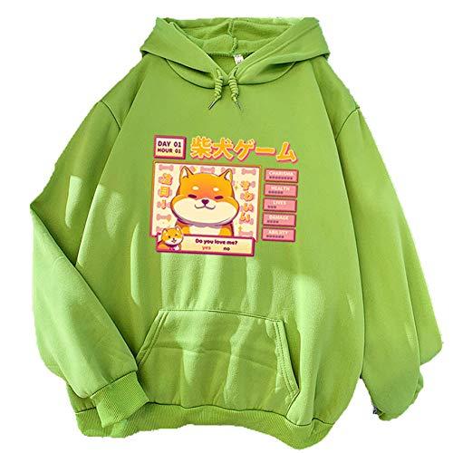 LaiYuTing Otoño e Invierno Nueva Sudadera de Color Caramelo con Estampado de Dibujos Animados suéter con Capucha de Personalidad versátil