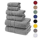 Qute Home 6-Piece Bath Towels Set, 100% Turkish Cotton Premium Quality Bathroom Towels, Soft and Absorbent Turkish Towels, Set Includes 2 Bath Towels, 2 Hand Towels and 2 Washcloths (Grey)