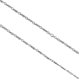 Gioiello Italiano - Catena a segmenti in oro 14kt da uomo, due colori, lunghezza 55cm