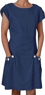 Yidarton Women's Cotton Linen Dress Italian Style Summer Casual Loose Fitting Dress Roll-up Short Sleeve with Pockets