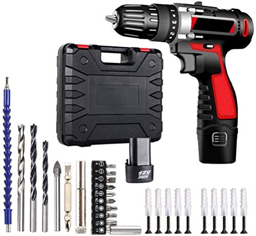WSMLA Cordless Electric Screwdriver Kit, Rechargeable Lithium ion Battery, Storage box Hand drill, electric screwdriver, rechargeable lithium battery hand drill, household electric drill
