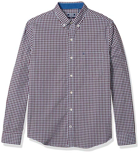 IZOD Men's Fit Button Down Long Sleeve Stretch Performance Gingham Shirt, Port Royale, Large Tall Slim