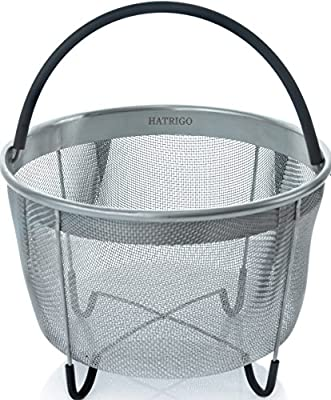 Top Rated Hatrigo Steamer Basket for Pressure Cooker Accessories 3qt [6qt 8qt avail] Compatible with Instant Pot Accessories Ninja Foodi, Strainer Insert with Silicone Handle, Mini 3 Quart